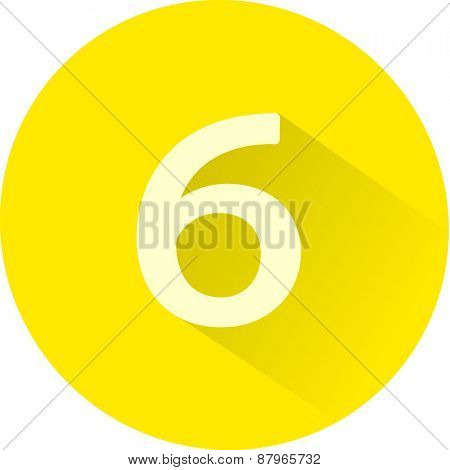 Number 6 on white background. Vector illustration