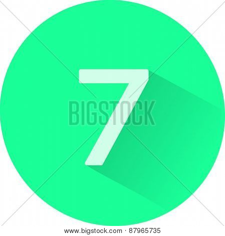 Number 7 on white background. Vector illustration