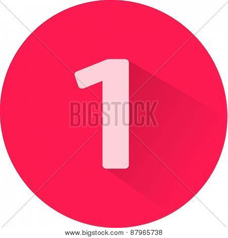 Number 1 on white background. Vector illustration