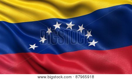 Flag of Venezuela with fabric texture waving in the wind