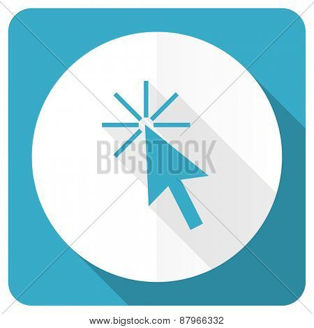 click here blue flat icon
