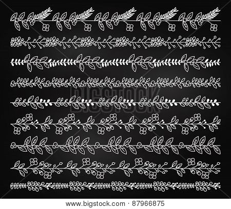 Chalkboard Vintage or Rustic Floral Borders and Dividers in Vector Format