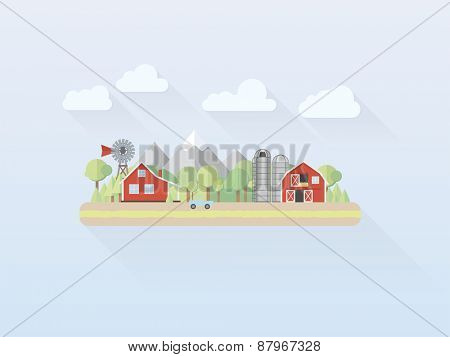 Flat Design Countryside Vector. Simple pastel colored illustration of countryside with farm, flat design, long shadow