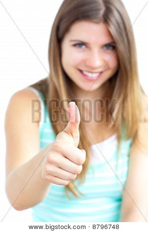 Positive Woman With Her Thumb Up To The Camera
