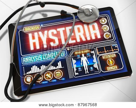 Hysteria on the Display of Medical Tablet.