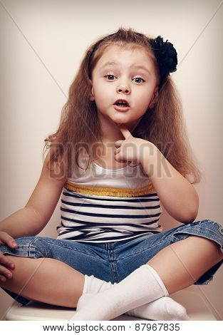 Thoughtful Speaking Style Child Looking Fun. 4 Years Old Girl
