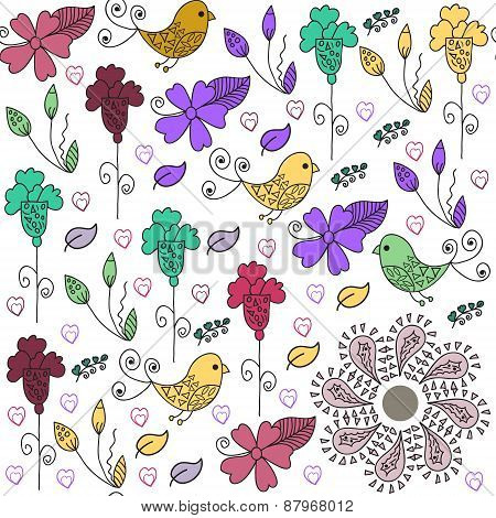 Cute Birds Seamless Pattern And Seamless Pattern In Swatch Menu, Vector Illustration. Adorable Pictu