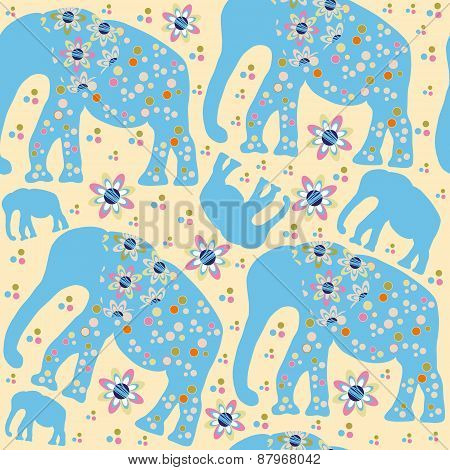 Cute Elephants Seamless Pattern And Seamless Pattern In Swatch Menu, Vector Illustration. Adorable