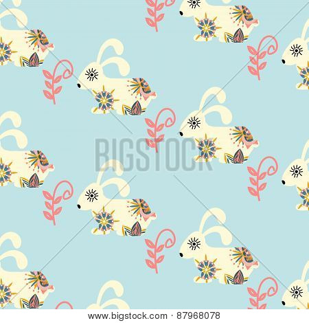 Rabbits Seamless Pattern And Seamless Pattern In Swatch Menu, Vector Illustration. Cute Texture In B
