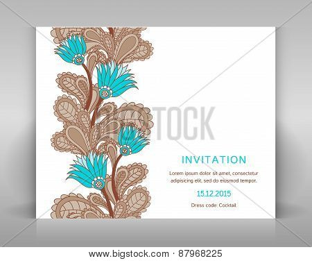 White Invitation With Floral Decoration.