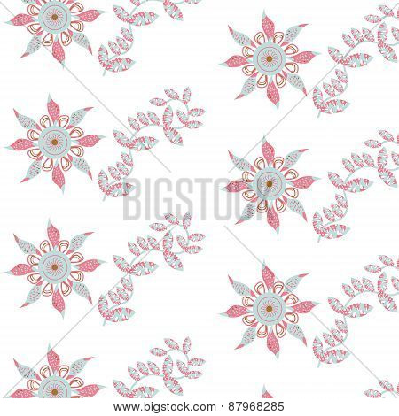 Floral Seamless Retro Pattern And Seamless Pattern In Swatch Menu, Vector Image. Cute Texture For Di