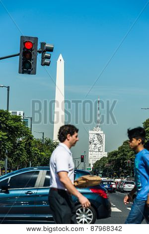 Buenos Aires, Argentina - April 9, 2015: Unidentified Business People Walking Down The Street At Ico