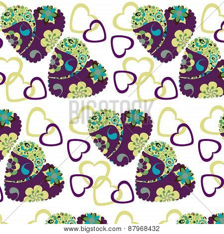 Colorful Hearts Romantic  Seamless Pattern And Seamless Pattern In Swatch Menu. Cute Vector Picture.