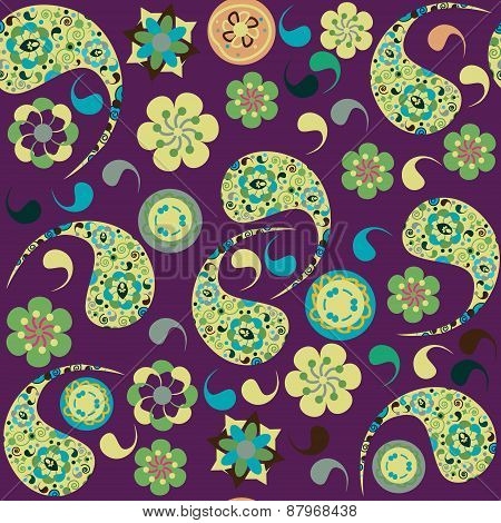 Colorful Paisley Seamless Pattern And Seamless Pattern In Swatch Menu. Cute Vector Image. Bright Bac