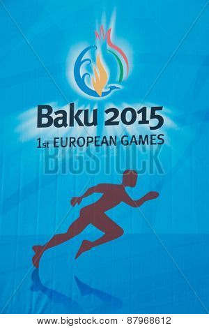 Baku - MARCH 21, 2015: 2015 European Games poster on March 21 in Azerbaijan, Baku. Baku will host first European Games in 2015