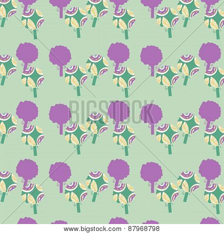 Abstract Floral Seamless Pattern With Fantasy Trees And Seamless Pattern In Swatch Menu, Vector Imag
