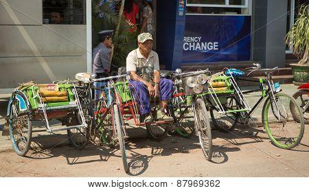 Burmese Street Scene With Rickshaw