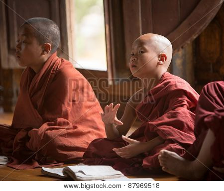 Burmese Buddhist Novices In Mandalay