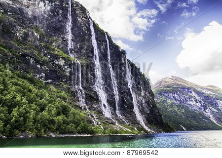 Waterfall of Geiranger fjord