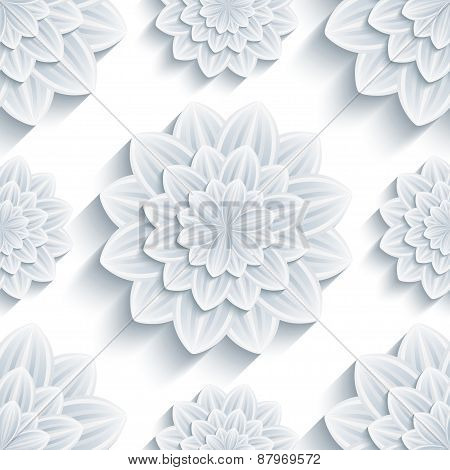 Background Seamless Pattern With 3D Flower Chrysanthemum