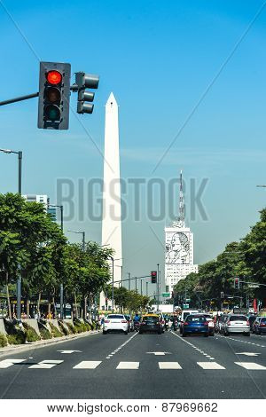 Buenos Aires City, Argentina Obelisco And Evita Peron Monument. Traveling South America.