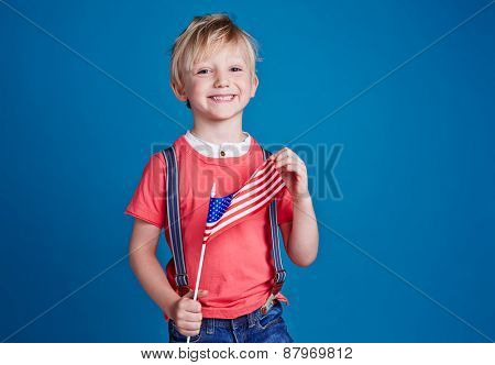 Little boy with USA flag