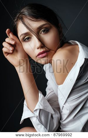 Beauty Portrait Of A Brunette Woman