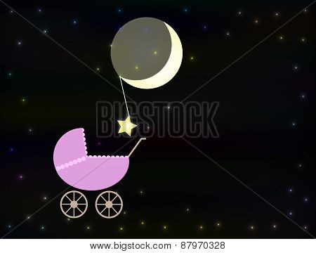 Pink baby pram at night