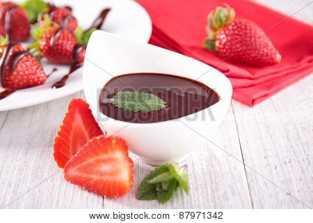 chocolate sauce and strawberry