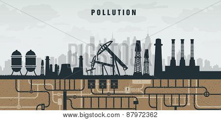pollution of the environment by plants, oil and smoke. concept of ecology