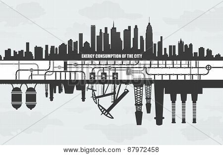 power consumption  large cities, factories and oil waste pollution, ecology concept