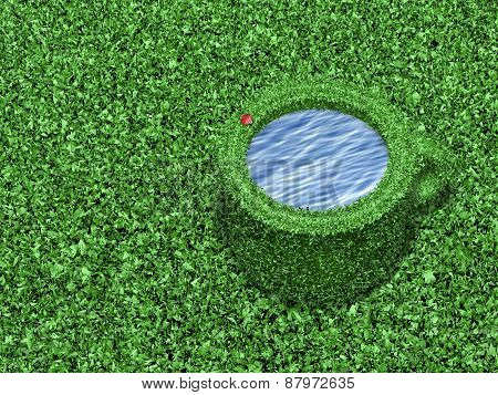 Cup covered by grass