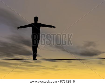 Conceptual concept of 3D businessman or man silhouette in crisis walking in balance on rope over sunset sky background