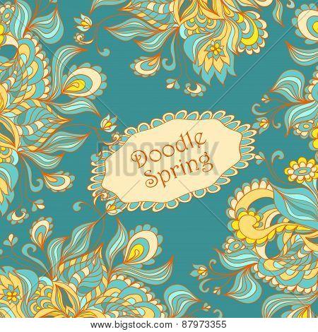Doodle floral frame in marine blue orange