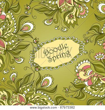 Doodle floral frame in green