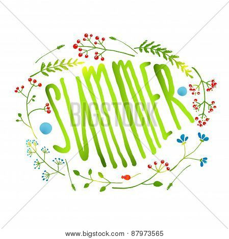 Rustic Wreath with Summer Sign Card on White