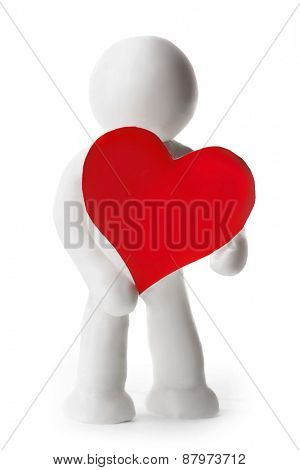 Plasticine man holding heart isolated on white background