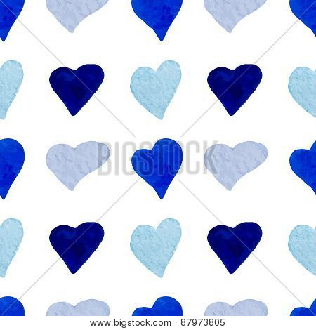 Watercolor blue hearts seamless pattern