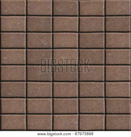 Brown Paving Slabs Lined Rectangles of the Single Size.
