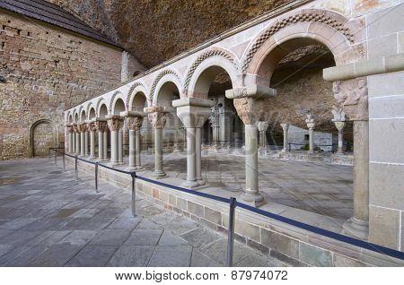 Romanesque cloister, XII century, San Juan de la Pena, Huesca, Aragon, Spain.