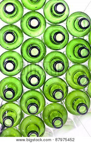 Bottoms of empty glass bottles . Still-life