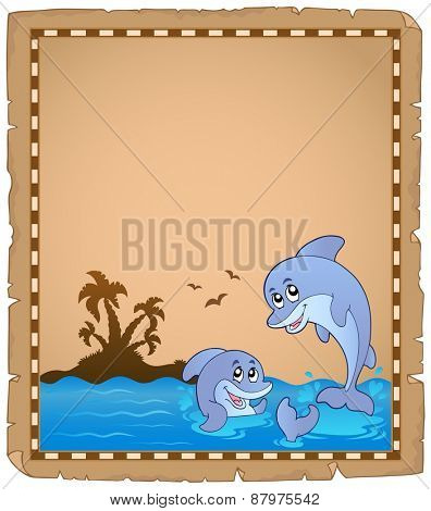 Parchment with two dolphins - eps10 vector illustration.