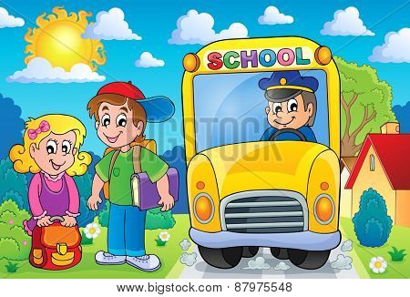 Image with school bus topic 7 - eps10 vector illustration.