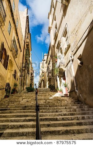 Street in Valletta with stairs