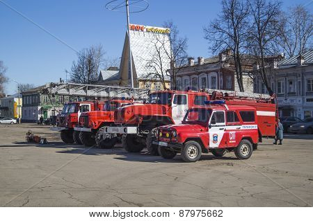 Vyazniki,Russia-March 27,2015: Red fire truck cost(stand) on area