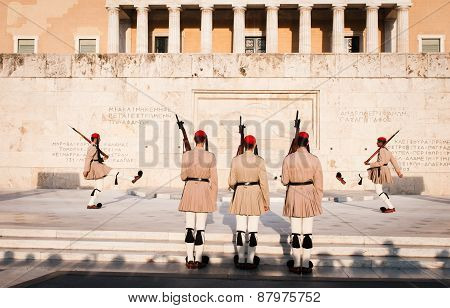 Evzones Soldiers Marching In Athens, Greece
