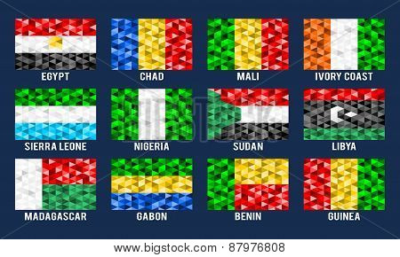 Africa low poly flags