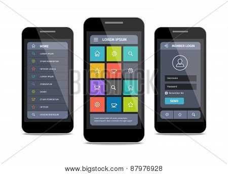 vector mobile ui design with login