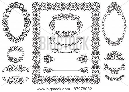 4 Decorative Frames And 9 Elements For design And Letters