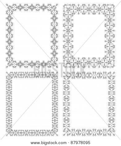 4 Rectangular Geometric Frame In Ethnic Style